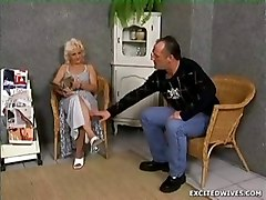 mature granny blonde cumshot facial blowjob