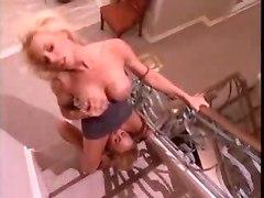 lesbian lesbo dyke licking clit pussy dildo vibrator tit boob blonde chick sex