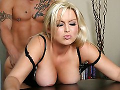 blonde  bouncing tits  scream  from behind  bent over  boots  desk  cock ride Abbey Brooks