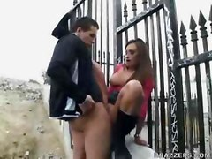 Claudia her friend caught fucking outdoors