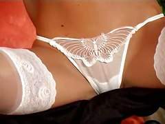 tight blonde panties lingerie teasing stockings ass fingering masturbation natural babe solo softcore cameltoe