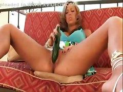 blonde fingering squirt sofa masturbation solo highheels stairs fetish cucumber insertion pussyrubbing