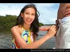 cumshot teen hardcore outdoor bikini blowjob brunette pussyfucking boat