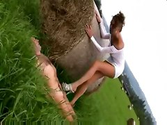 kinky outdoors public footjob cumshot fetish