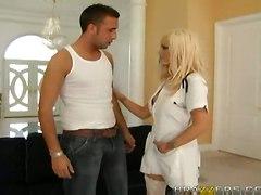 blonde blowjob uniform nurse stockin big tits
