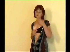 Brunette chubby granny in glasses and lingerie fucked in all holes  anal in an empty flat by a younger dude
