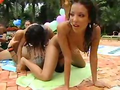 orgy bare pool caress babes