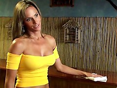 blonde  milf  skinny  jeans  tanned  grey eyes  from behind  barmaid Montana Skye