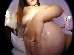 POV pregnant wife toys blowjob hairy cumshot