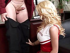 cheerleader  blonde  hairstyle  student  big tits  natural tits  cock ride  bouncing tits  office  desk  lick  finger fuck  in clothes  clothes off  from behind Haley Cummings