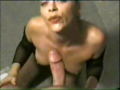 fishnet blowjob cumshot pov deepthroat