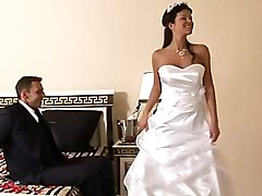bride  stylish  dress  beautiful  european  upskirt  lick  in clothes  lingerie  stockings  white stockings  gentleman  clothes off  anal  cock ride  tits cumshot  brunette  hairstyle  curly