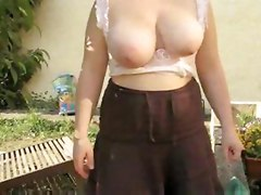 young busty wife flashing tits boobs
