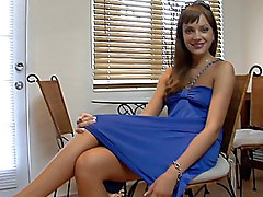 cute  long hair  brunette  russian  european  dress  from behind  cock ride Nika