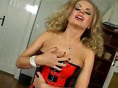 lingerie blonde milf masturbation solo fingering rubbing orgasm big tits teasing