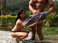 interracial guy fucks tranny outdoor sucking doggy style