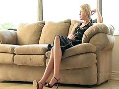 dildo blonde closeup sofa shavedpussy smalltits masturbation solo highheels sextoy pinkpussy ponytail
