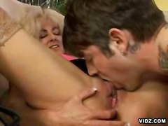 stockings cumshot blonde milf blowjob doggystyle titlicking pussylicking ontop highheels pussyfucking cumontits