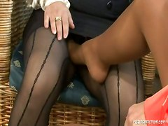 stockings pantyhose big ass busty trio gorgeous high heels