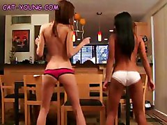 Asian Brunette Dancing Lesbian Panties Petite Sexy Small Tits Stripping Teen