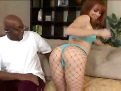 interracial deepthroat face fuck gagging handjob blowjob pussylicking riding ass anal ass to mouth red head lingerie panties fishnet stockings fingering cumshot facial small tits pornstar