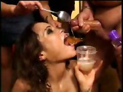 bukkake cumshot facial brunette small tits extreme fetish groupsex hardcore latina skinny panties teasing tight party close up wet swallow