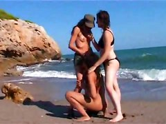 beach outdoor brunette bikini piercing tattoo teasing big tits ass licking pussylicking close up rubbing natural toys dildo lesbian hardcore wet face fuck groupsex threesome babe