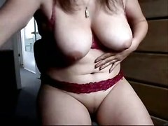 fingering masturbation big tits webcam solo amateur homemade fingering lingerie mature brunette natural