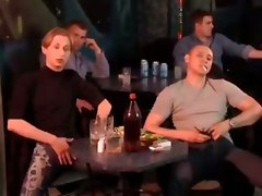 public hot scene in bar with others joining the fu