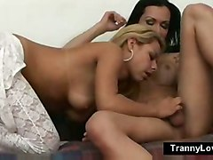 blonde blowjob doggystyle wife threesome tranny shemale