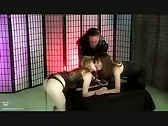 spanking fetish lingerie blonde brunette tight stockings bondage threesome groupsex lesbian pussylicking 69 latex rough bdsm kissing toys whipping