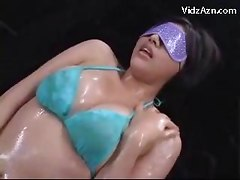 Blindfolded Girl In Blue Lingerie Getting Her Body Rubbed With Oil Pussy Fingered Stimulated With Vibrator By 2 Guys