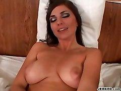 handjob big tits pov babe brunette