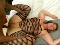bbw fishnet lingerie deepthroat doggystyle ass big tits anal cumshot facial interracial
