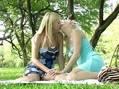 teens lesbian outdoor kiss lick