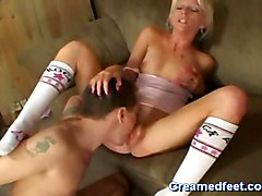 Skinny Blonde Gives A Footjob