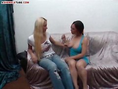 blonde tranny pussy blowjob brunette