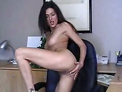 brunette solo stripping teasing office softcore