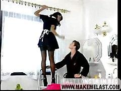 stockings cumshot facial hardcore blowjob brunette doggystyle pussyfucking maid