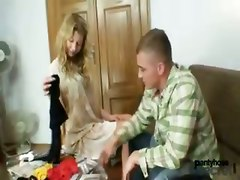 kinky blowjob pantyhose fetish ass blonde