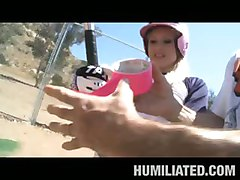 fetish teen blonde dildo fingering face fuck outdoor spanking softball bind