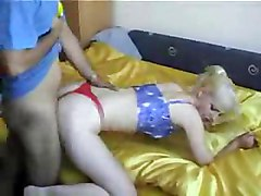 blonde blowjob amateur homemade hardcore doggystyle couple panties handjob
