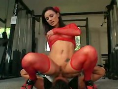stockings cumshot facial hardcore blowjob brunette trimmed tattoo pussylicking highheels pussyfucking gym facesitting