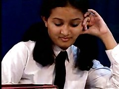dildo trimmed pigtails toy bigtits masturbation solo stripping teasing skirt indian tie schoogirl