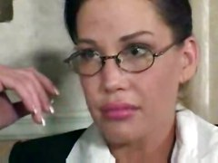 cumshot facial hardcore milf blowjob brunette doggystyle shaved titjob teacher busty glasses sofa pussylicking highheels pussyfucking skirt
