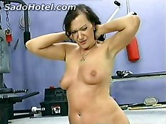 Hot Brunette Slave With Great Body And Beautiful Tits Is Spanked On Her Boobs And Ass By Instructor