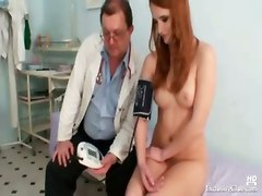 gyno red head pussy speculum vagina exam doctor fetish babe