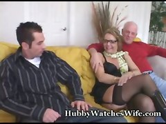 mature cougar cub milf glasses cuckold reality blowjob