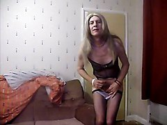 amateur homemade solo mature crossdresser stockings teasing
