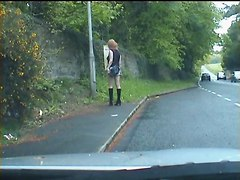 Zoe Tranny Bitch Whore Outdoors In Tight Hot Pants